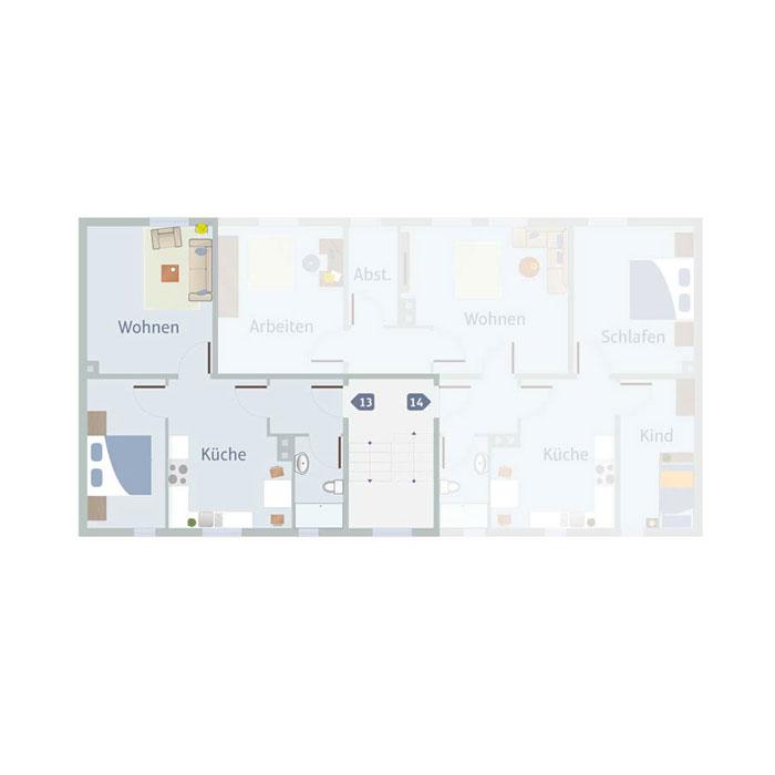 2 Zimmer, Küche, Bad, Flur & Abst. 55 - 65 qm