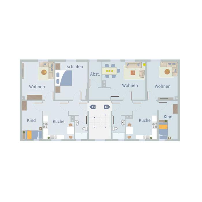 3 Zimmer, Küche, Bad, Flur & Abst. 55 - 65 qm
