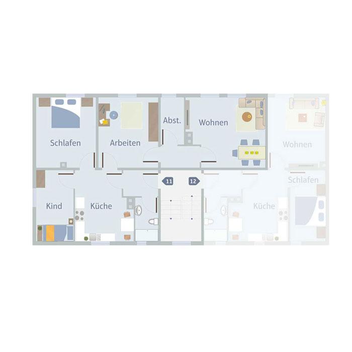4 Zimmer, Küche, Bad, Flur & Abst. 75 - 80 qm