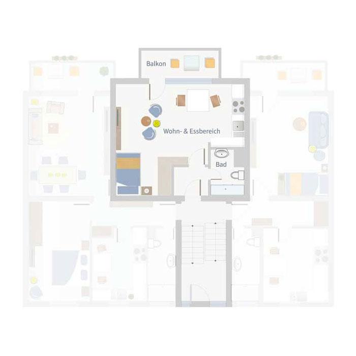 1 Zimmer, Bad, Flur & Balkon bis 40 qm