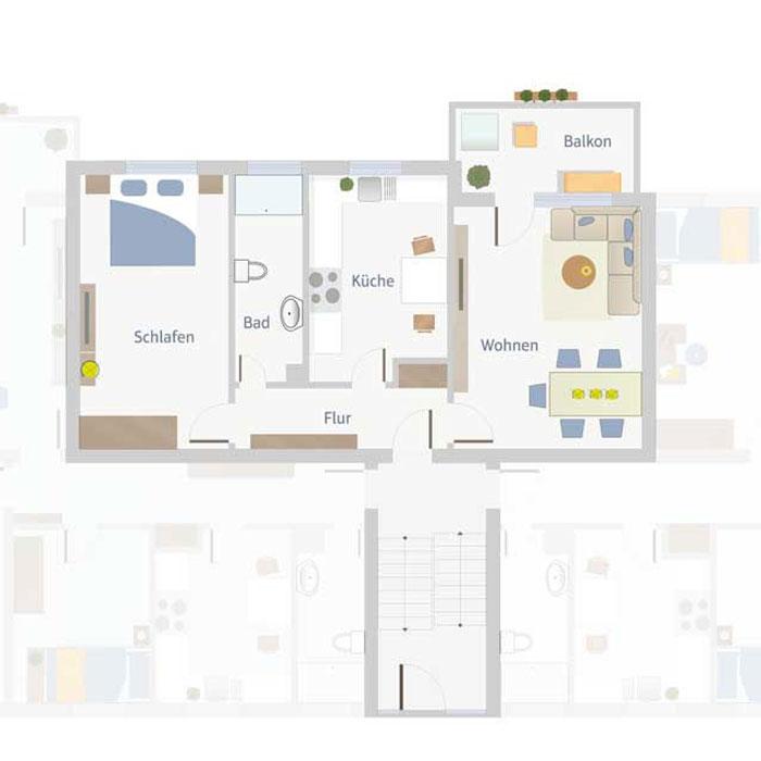 2 Zimmer, Küche, Bad, Flur & Balkon bis 70 qm