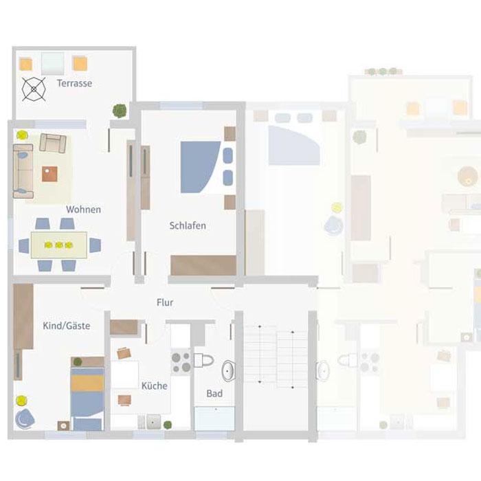 3 Zimmer, Küche, Bad, Flur & Balkon bis 90 qm
