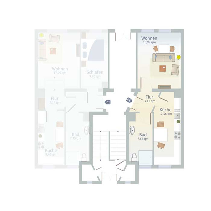 1 Zimmer, Küche, Bad & Flurbis 40 qm