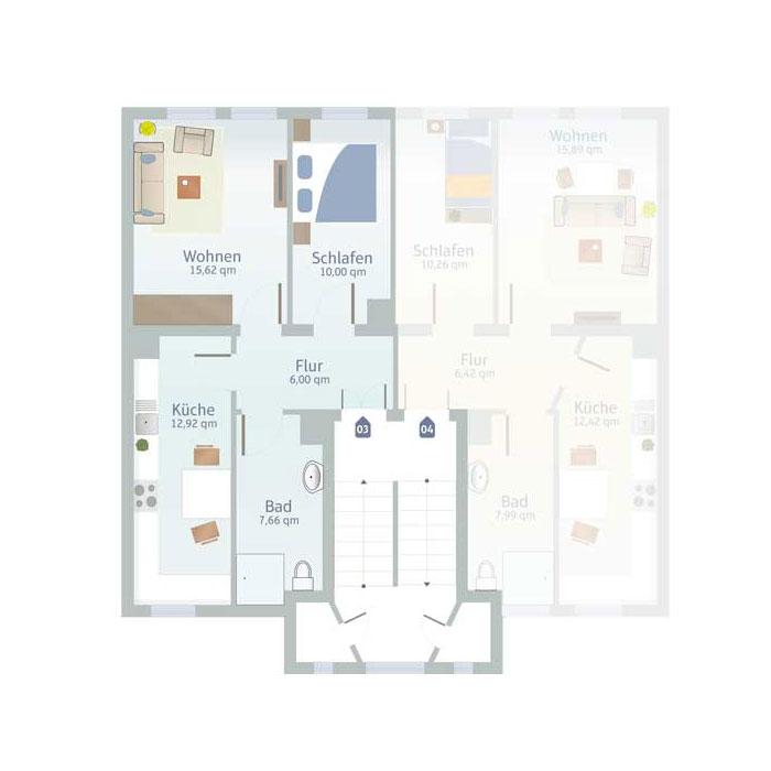 2 Zimmer, Küche, Bad & Flurbis 55 qm