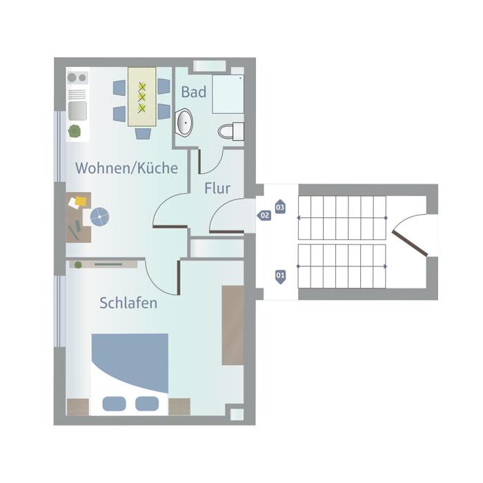 1 1/2 Zimmer, Küche, Bad, Flur