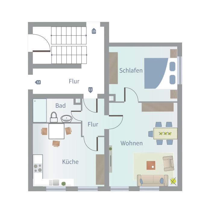 2 Zimmer, Küche, Bad, Flur