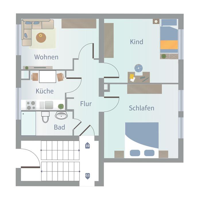 3 Zimmer, Küche, Bad, Flur