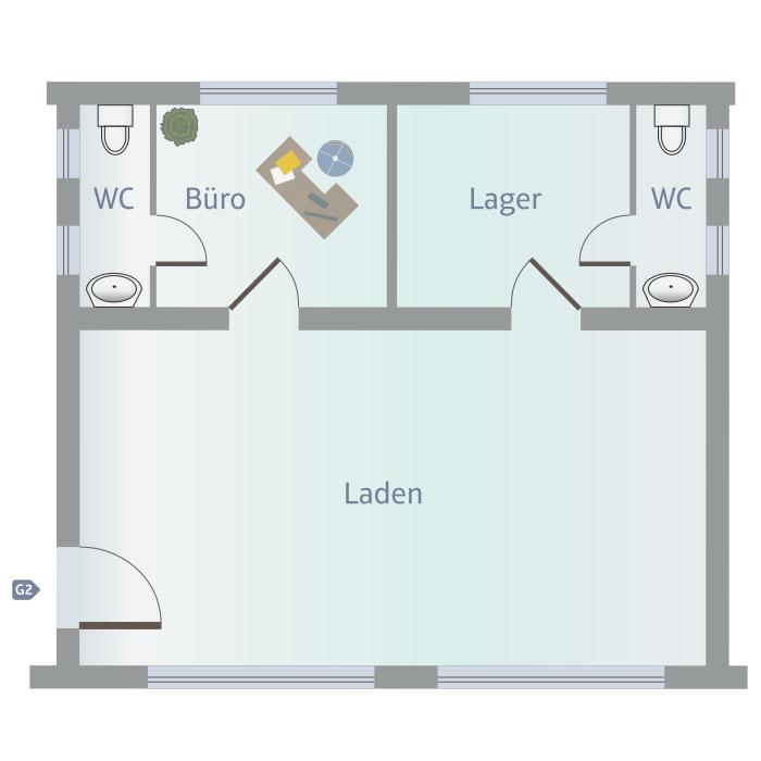 Laden, Büro, Lager, WC