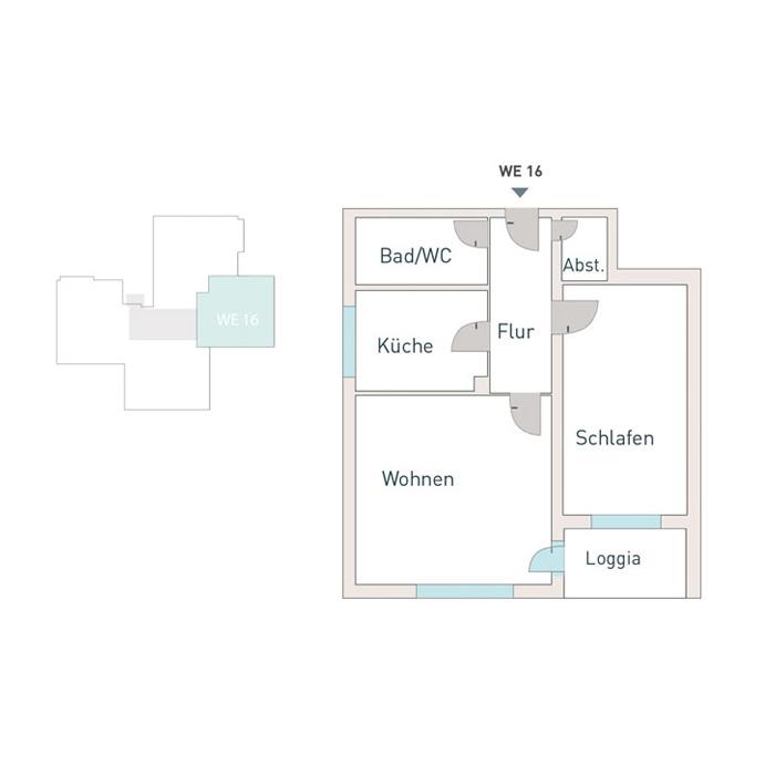 2 Zimmer, Küche, Bad, Flur & Balkon