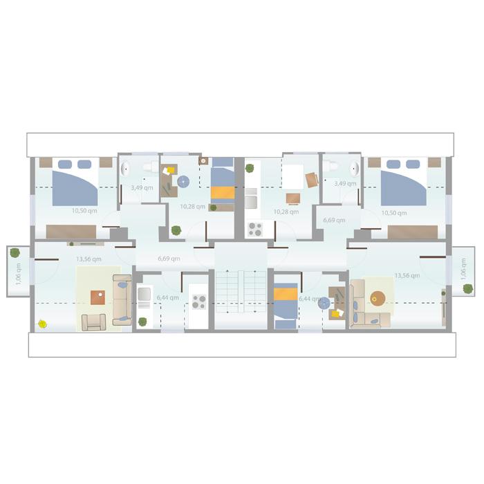 Wohnungsgrößen: 3 Zimmer, ca. 51,82 qm bis 66,42 qm