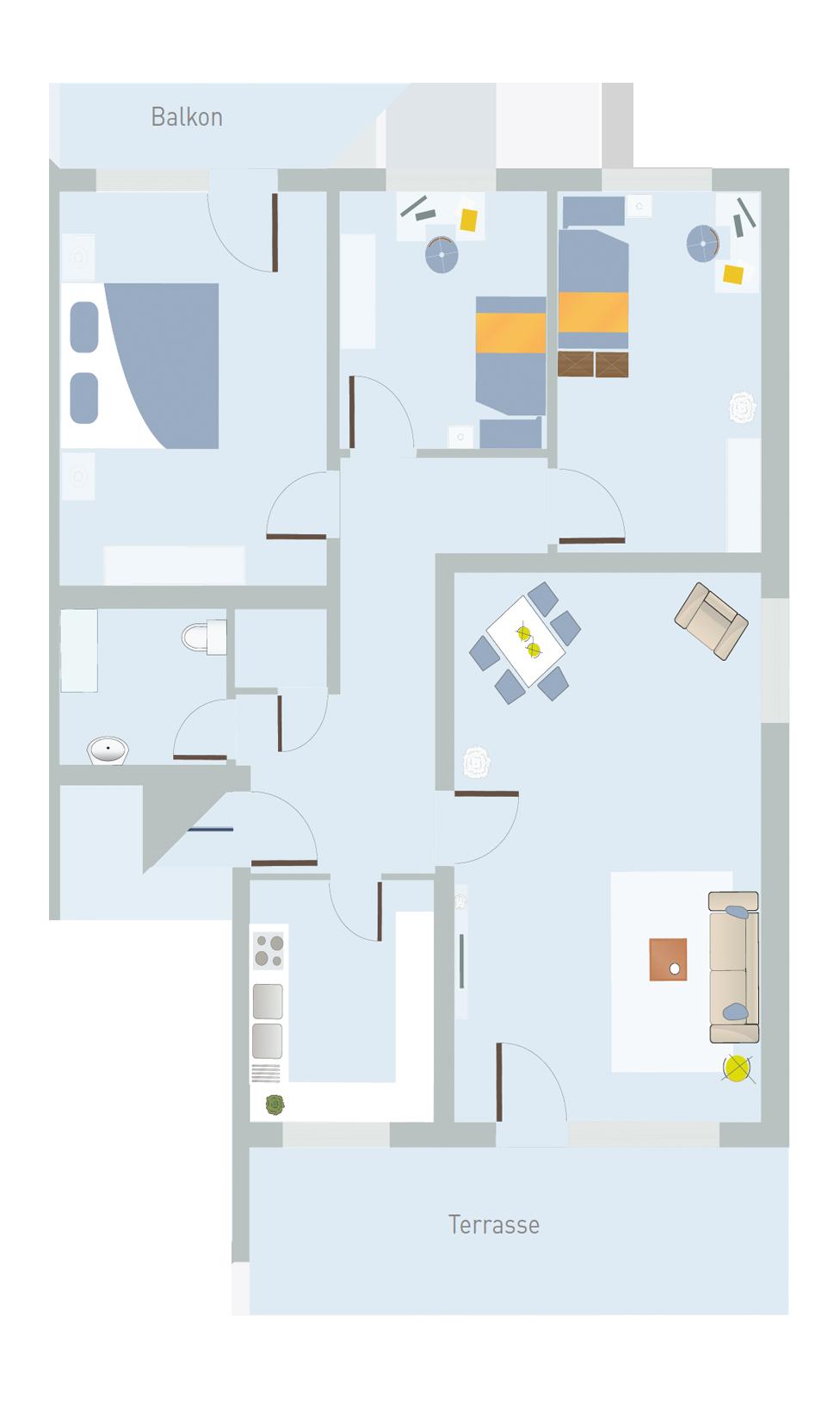 4 Zimmer, Küche, Bad, AK, Terrasse & Balkon