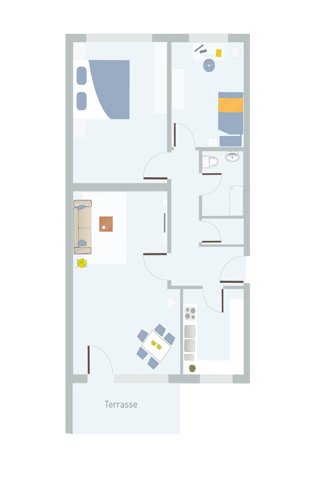 3 Zimmer, Küche, Bad, AK & Terrasse