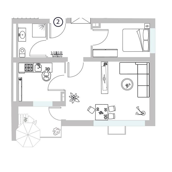2 Zimmer- Wohnung