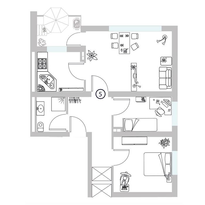 1 Zimmer- Wohnung