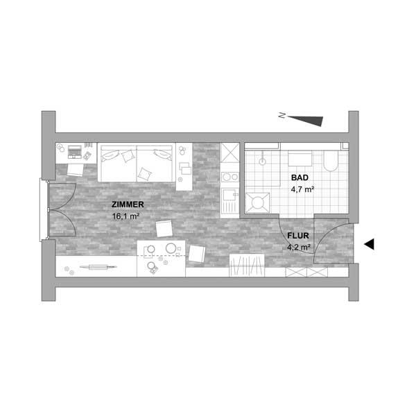 Typ 1 - 1 Zimmer Wohnung