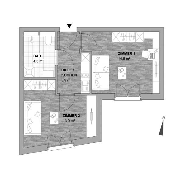 Typ 3 - 2 Zimmer Wohnung