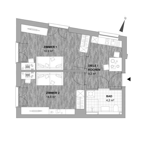 Typ 4 - 2 Zimmer Wohnung