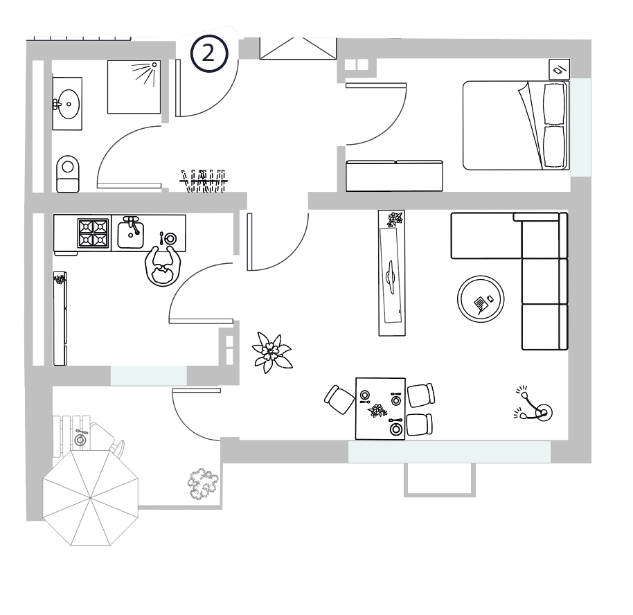 WE 02 I Erdgeschoss I 2 Zimmer - Wohnung