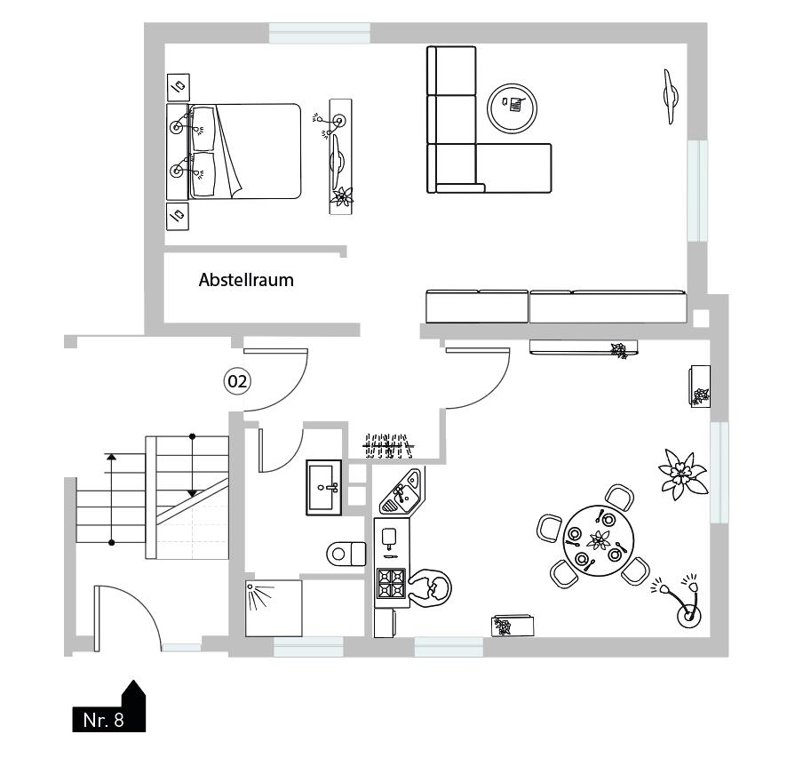 Haus Nr. 8 - WE 02 - Souterrain rechts